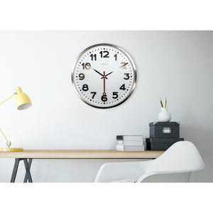 NeXtime - Wall clock- Ø 55 cm - Stainless Steel - 'Super Station Numbers'