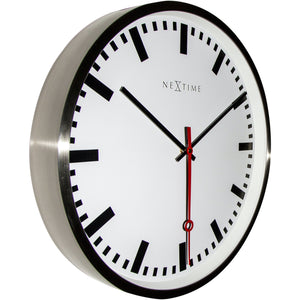 NeXtime - Wall clock- Ø 55 cm - Stainless Steel - 'Super Station Stripe'