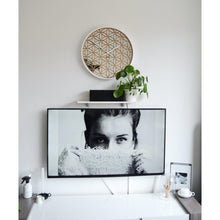 Load image into Gallery viewer, NeXtime - Wall clock - Ø 50 cm - Wood/Mirror – White- 'Bella Mirror'