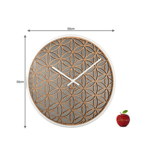 NeXtime - Wall clock - Ø 50 cm - Wood/Mirror – White- 'Bella Mirror'