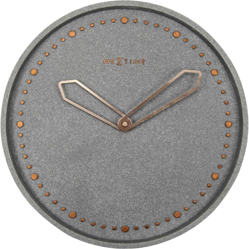 NeXtime - Wall clock - Ø 35 cm - Polyresin – Grey - 'Cross'