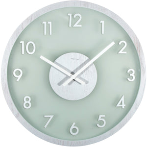 NeXtime - Wall clock - Ø 50 cm - Wood/Glass – White – 'Frosted Wood'