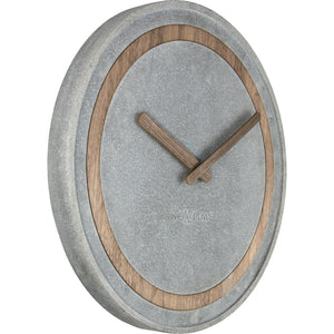 NeXtime - Wall Clock - Ø 39.5 cm - Polyresin/Wood – Grey – 'Concreto'