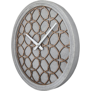 NeXtime - Wall Clock - Ø 39.5 cm - Polyresin/Wood – Grey – 'Concreto love'