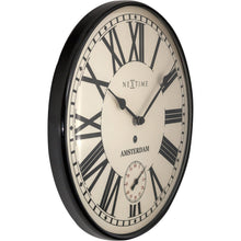 Load image into Gallery viewer, NeXtime - Wall clock- Ø 30 cm – Metal – Dome Shape Glass- Black – 'Amsterdam Dome'
