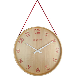 NeXtime - Wall clock- Ø 26 cm – Wood/Fabric– Red – 'Loop Small'