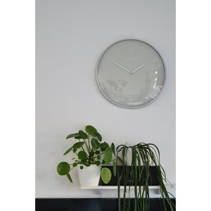 NeXtime - Wall clock- Ø 40 cm – Metal – Dome shaped glass- Grey – 'Glamour'