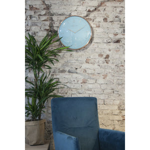 NeXtime - Wall clock- Ø 40 cm – Metal – Dome shaped glass- Turquoise – 'Glamour'