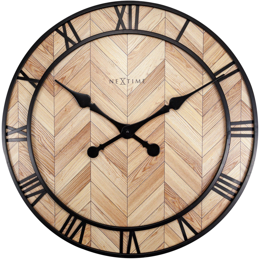 NeXtime- Wall clock - Ø 58cm -  Wood/Metal - Light Wood - 'Roman Vintage'