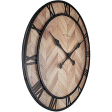 Load image into Gallery viewer, NeXtime- Wall clock - Ø 58cm -  Wood/Metal - Light Wood - 'Roman Vintage'