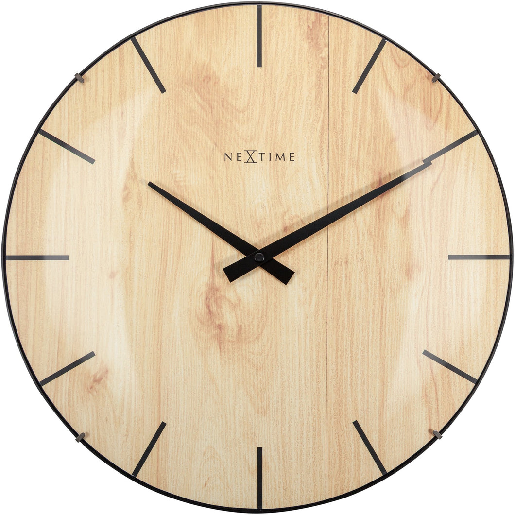 NeXtime-Wall clock - Ø 35 cm - Dome Glass - Light Brown - 'Edge Wood Dome'
