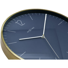 Load image into Gallery viewer, NeXtime- Wall clock - Ø 34 cm - Glass / Metal - Vintage Blue - 'Essential Silver'