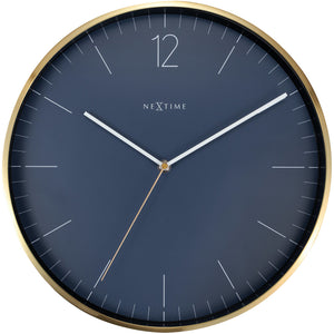 NeXtime- Wall clock - Ø 34 cm - Glass / Metal - Vintage Blue - 'Essential Silver'