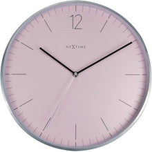 Load image into Gallery viewer, NeXtime- Wall clock - Ø 34 cm - Glass / Metal - Romantic Pink - 'Essential Silver'