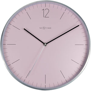NeXtime- Wall clock - Ø 34 cm - Glass / Metal - Romantic Pink - 'Essential Silver'