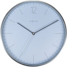 Load image into Gallery viewer, NeXtime- Wall clock - Ø 34 cm - Glass / Metal - Elegant White - 'Essential Silver'