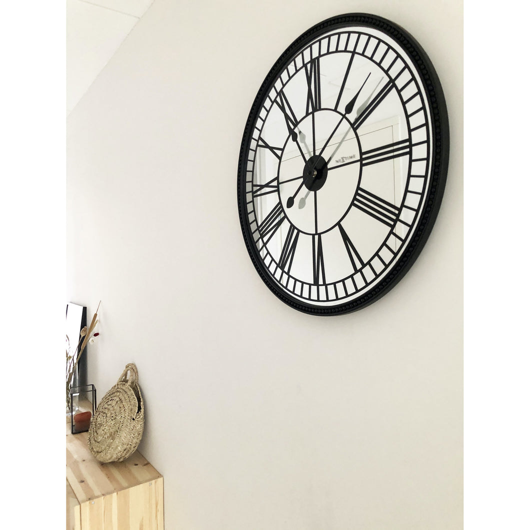 NeXtime- Wall clock - Ø 56 cm - Mirror - Black - 'Cleopatra mirror'