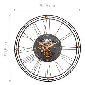 Roman Gear Clock XXL - 90.5cm - Black/Gold - Metal - Roman Gear Clock -NeXtime