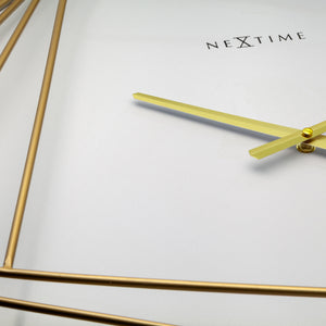 Large Square Wall Clock - 85x85cm -  Metal - Gold/White - NeXtime - Turning Square