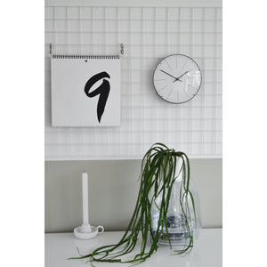NeXtime - Wall clock/ Table clock- Ø 20 cm- Glass – Dome Shaped Glass- White – 'Big Stripe Mini Dome'