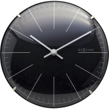 Load image into Gallery viewer, NeXtime - Wall clock/ Table clock- Ø 20 cm- Glass – Black – 'Big Stripe Mini Dome'