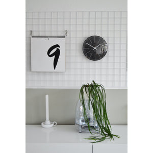 NeXtime - Wall clock/ Table clock- Ø 20 cm- Glass – Black – 'Big Stripe Mini Dome'