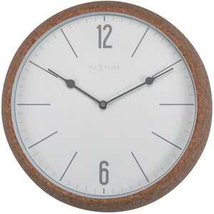 NeXtime- Wall clock - Ø 30 cm - Cork / Glass - White - 'Cork'