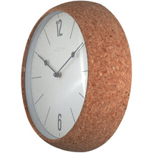 Load image into Gallery viewer, NeXtime- Wall clock - Ø 30 cm - Cork / Glass - White - 'Cork'