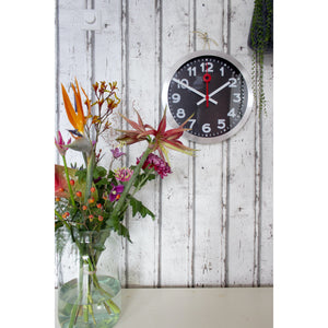 NeXtime - Wall clock - Ø 35 cm – Aluminum – Black – 'Station Numbers'
