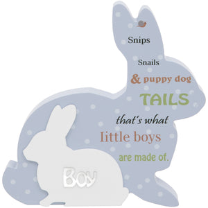 Blue Rabbit Baby Plaque