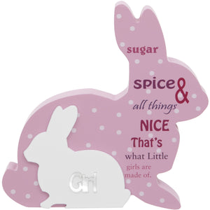 Pink Rabbit Baby Plaque