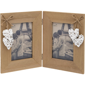 Woven Heart Double Photo Frame 6 x 4-Inch