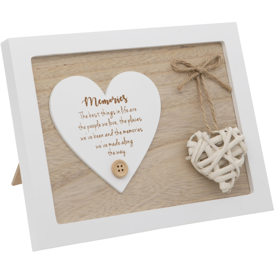 Woven Heart Sentiment Plaque - Memories