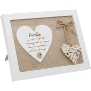 Woven Heart Sentiment Plaque - Family