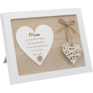 Woven Heart Sentiment Plaque - Mum
