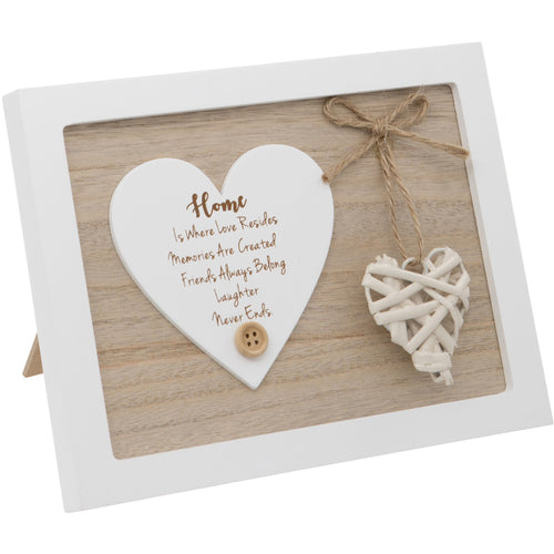 Woven Heart Sentiment Plaque - Home