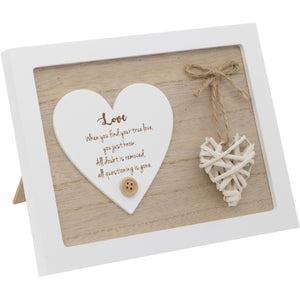 Woven Heart Sentiment Plaque - Love