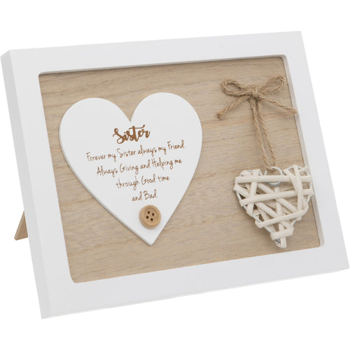 Woven Heart Sentiment Plaque - Sisters