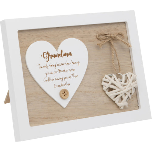 Woven Heart Sentiment Plaque - Grandma
