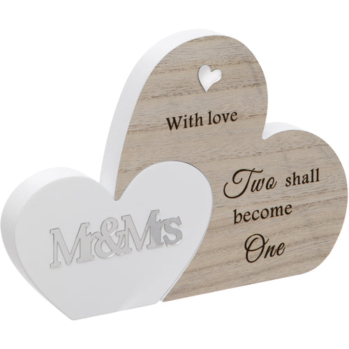 Mr and Mrs Double Interlocking Hearts Plaque