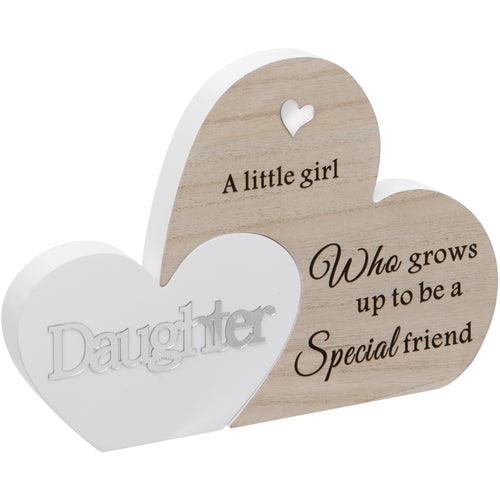 Daughter Double Interlocking Hearts Plaque