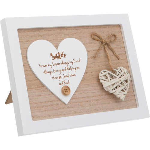Woven Heart Sentiment Plaque - Sister