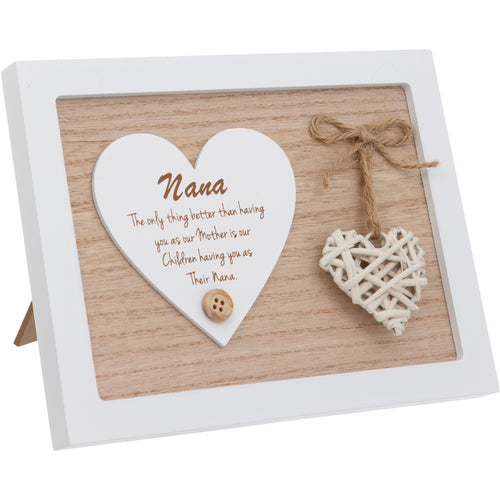 Woven Heart Sentiment Plaque - Nana