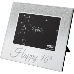 Happy 16th Mirrored Silver Glitter 6 x 4 Inch Photo Frame
