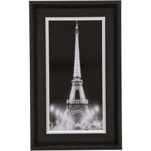 Black Rectangular Thick Edge Wall Mountable Photo Frame - Eiffel Tower