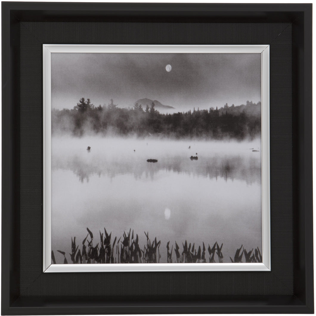 Black Square Thick Edge Wall Mountable Photo Frame - Lake Scene