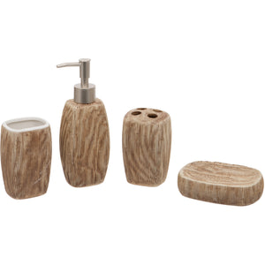 Brown Oval 4 Piece Bathroom Set - Soap/Lotion Dispenser, Toothbrush Holder, Tumbler, Soap Dish