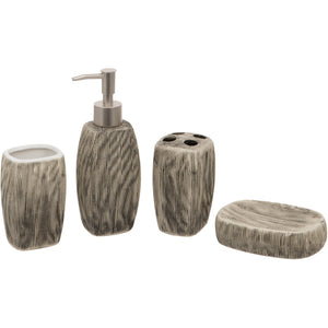 Grey Oval 4 Piece Bathroom Set - Soap/Lotion Dispenser, Toothbrush Holder, Tumbler, Soap Dish