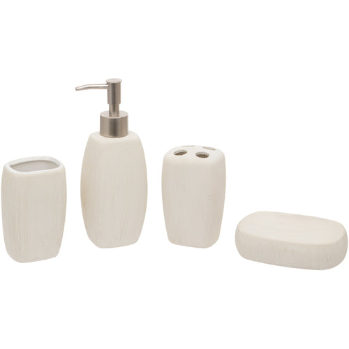 White Oval 4 Piece Bathroom Set - Soap/Lotion Dispenser, Toothbrush Holder, Tumbler, Soap Dish