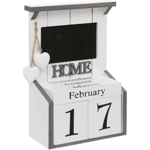 White Perpetual Calendar With Chalk Board